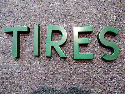 "Original  6"" Texaco Gas Service Station Garage Letters Green Plastic TIRES Sign"