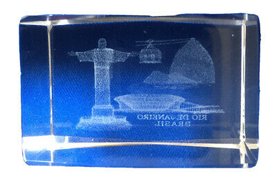 Crystal Clear Glass 3d Laser Etched Cube Paperweight Rio de Janeiro - Small
