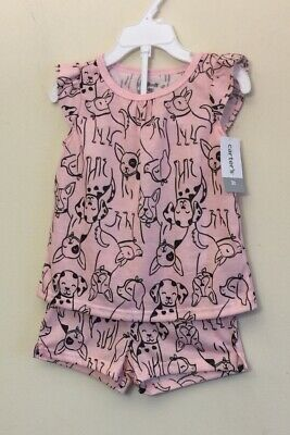 Boston Terrier And French Bulldog Girls Pink Short Set