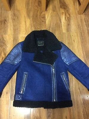 Next Girls Faux Suede Sherpa Biker Jacket Aged 7-8 Years Old