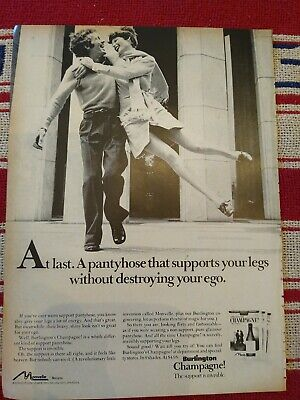 1973 Burlington Champagne support your legs without destroying ego pantyhose ad