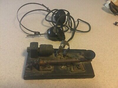 Primitive SIGNAL MORSE CODE TELEGRAPH KEY With Lincoln Allied Headset