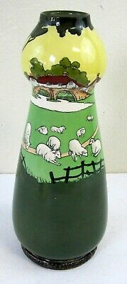 Antique Hand Painted Porcelain Vase Sheep Silver Base Possibly Royal Doulton!