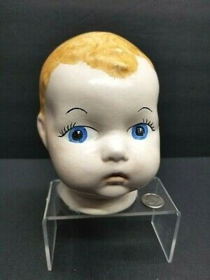 """Vintage Ceramic Doll Head 5"""" Replacement Part For Baby Doll Painted Face"""