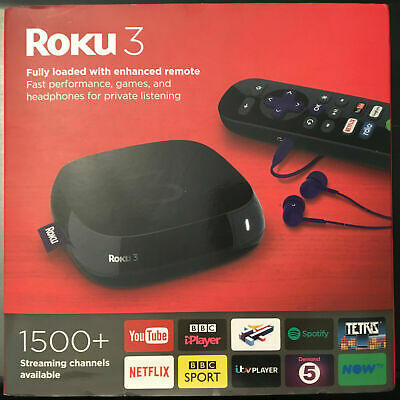 Roku 3 Internet TV Streamer, WARRANTY, BOXED, Bluetooth remote, LAN PORT!  NOWTV