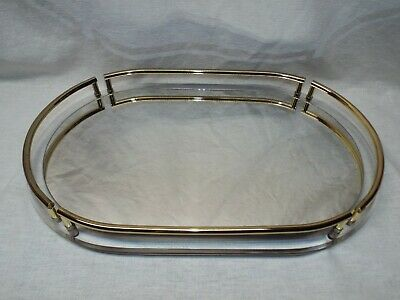 Large Vtg Mid Century Acrylic Framed Mirrored Make up Vanity Tray Brass Accents