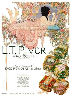 1922 Fred Packer woman flowers color art L.T. Piver perfume ad NEW poster 24x32