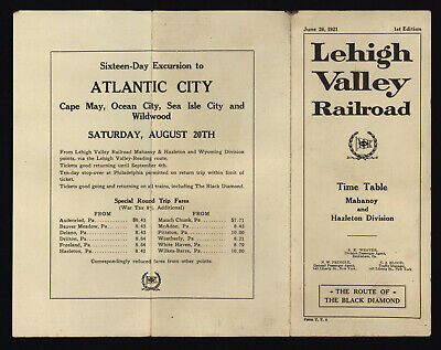 Lehigh Valley Railroad 6/26/1921 Mahanoy & Hazleton Division Time Table