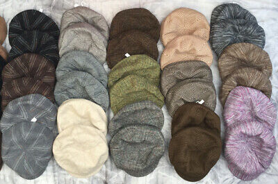 30 Baker Boy Hats Peaked Caps In 7 Styles Mixed Colours - Wholesale Job Lot