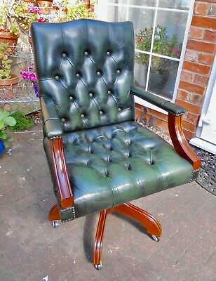 Excellent Green Leather Executive/Director's/Captain's Swivel Desk Chair