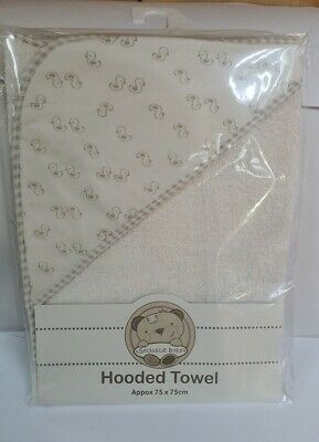 Snuggle Baby Baby Boys/Girls Duck Motif Hooded Towel White 100% Cotton 75x75cms