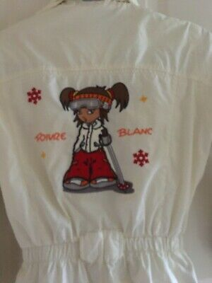 poivre blanc ski suit girls 10yrs old condition 9/10 embroidery at the back