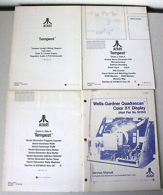 Lot of Vintage Atari Arcade Manuals and Diagrams Tempest Wells-Gardner Early 80s