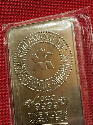 10 oz Royal Canadian Mint 9999 Fine Silver Bar ~ New In Mint Seal