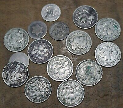 1851 Thru 1881 Three Cent Piece US Coin Silver And Nickel Lot Of 15 Assorted