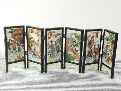 Vintage Chinese Screen Miniature Small Oriental Decorative Ornaments 6 Panels