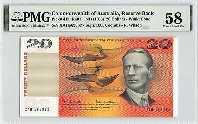 Australia, Commonwealth ND (1966) P-41a PMG Choice About UNC 58 20 Dollars