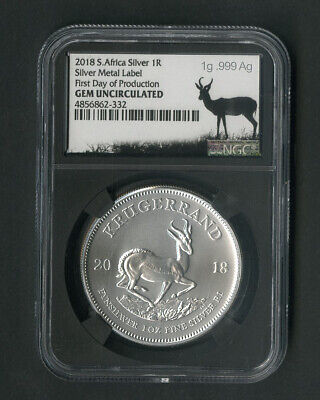 South Africa Coin 2018 Silver 1R First Day Gem Uncirculated NGC