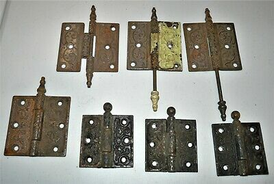 "7 sets~Antique Cast Iron~VICTORIAN DOOR HINGES~ 3.5"" x 3.5"" & 3"" x 3""~Hardware"