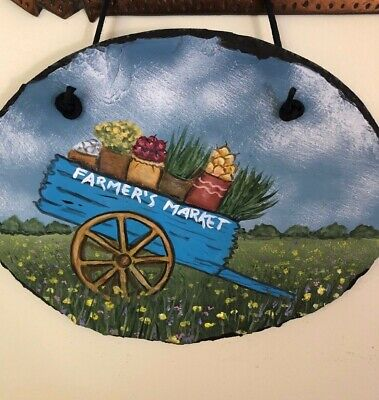 Original Hand Painted NAME YOUR OWN BREED Farmer's Market Wagon Slate / Ann