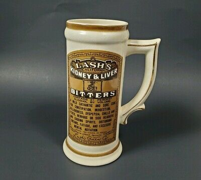 Vintage Lash's California Kidney & Liver Bitters Ceramic Advertising Mug RARE