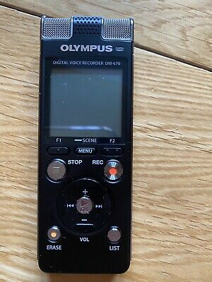 Olympus DM-670 Digital Voice Recorder +  Leather Case Never Used