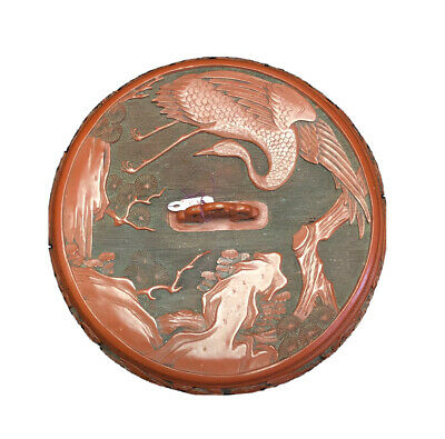 Fine Old Chinese Carved Red Cinnabar Lacquer Lidded Box Birds Cranes