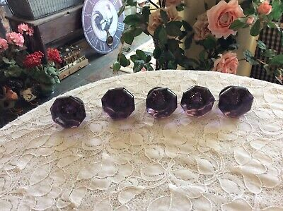 Vintage Antique 8 Point Glass Door Knob Purple/ Amethyst/Lavender
