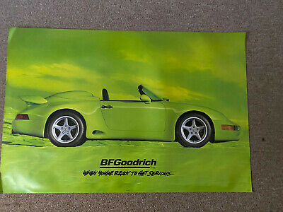 Super Rare Bf Goodrich Sign Lime Green Porsche 911 Original Poster 3' X 2'
