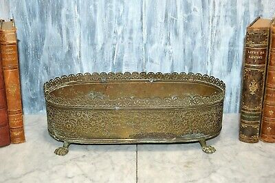 Antique French Brass Jardiniere Planter Embossed Floral Lion Paw Feet