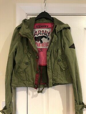 Girls Superdry Jacket Top Khaki Green Pink Size Small Limited Edition