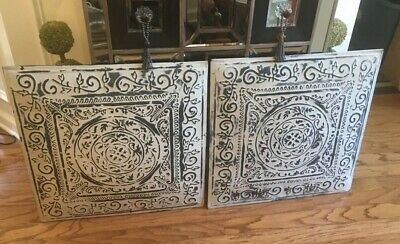 """Lot Of Two (2) 24"""" x 24"""" Full Piece Distress Vintage Ceiling Tin Wall Home Decor"""