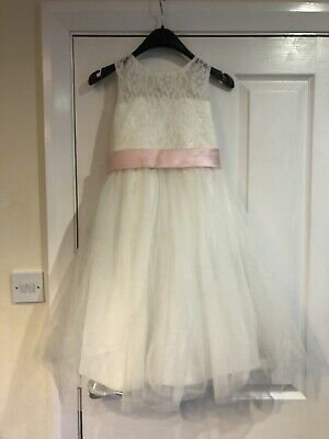 Flower Girls Party Dress Light Pink White Cream Lace Wedding Bridesmaid Age 8