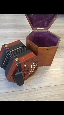 lachenal concertina in original box beautiful instrument great condition vintage