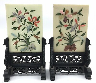 Pair Small Chinese Late 19th or Early 20th C Jade Hardstone Coral Table Screens