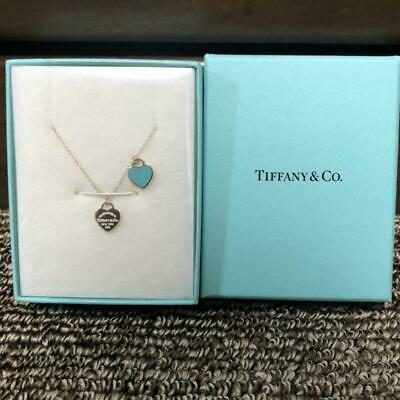 Tiffany & Co. Double Heart Tag Blue Enamel Sterling Silver m62716237951 Necklace