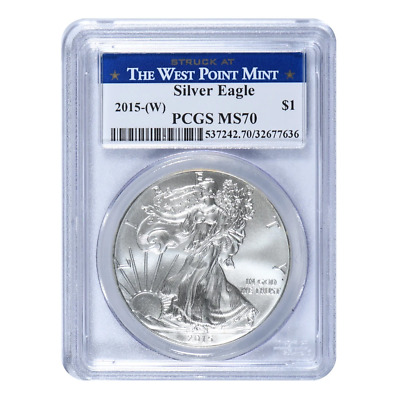 2015 (W) American Silver Eagle PCGS MS70 West Point Mint Label