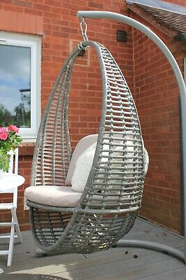Hanging Garden Egg Chair With Cushion Rattan Style Single Grey