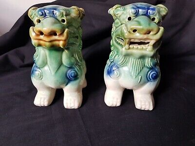 Pair Vintage Chinese Dragon Temple Guardian  Glazed Green / Brown Foo Dogs