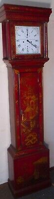 "Antique  Red Lacquered Case "" Leicester "" Longcase / Grandfather  Clock"