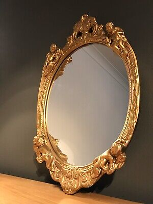 Vintage Gold Colour Wood Plaster Cherub Detail Oval Mirror-wall-large-decor