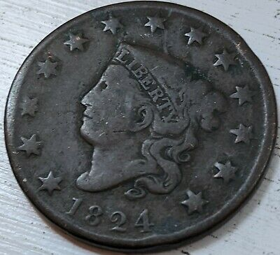 1824 Coronet Head Large Cent VG Coin