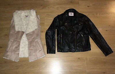 GIRLS JACKET BUNDLE - Faux leather biker / Faux suede fur lined (exc con)