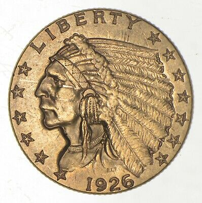 $2.50 United States 90% US Gold Coin - 1926 Indian - No Reserve *684