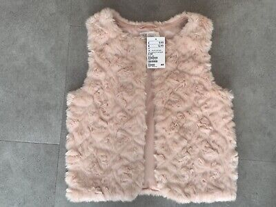 BNWT H&M girls pink faux fur gilet, size 9-10 years