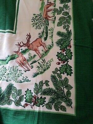 Vtg Tablecloth & matching napkins, 57x 34, Deer,acorns,leaves,Vivid Green Colors