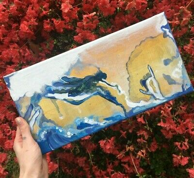 Acrylic Original Painting Aesthetic Depression, Mental health, Ocean painting