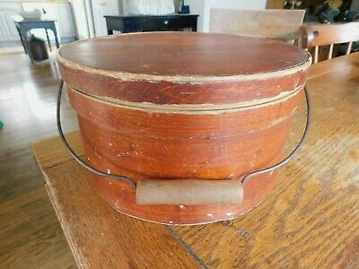 "Antique Primitive Wood 11"" Pantry Box w/-Lid Bail Wire Handle-Old Red Paint"