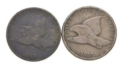 1858 Large/Small Letters - 2 Coin Fly Eagle Cent Set Variety Collection *259