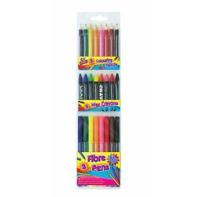 Children's Colouring Drawing Set Art Box Pencil Wax Crayon Fibre Tip Pen 24 pack